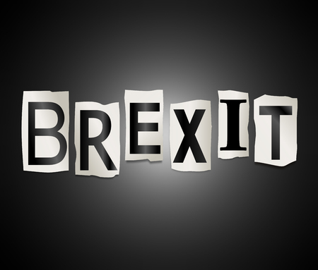 electing: Illustration depicting a set of cut out printed letters arranged to form the word Brexit.