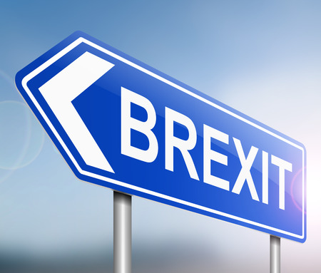 exiting: Illustration depicting a sign with a Brexit concept.