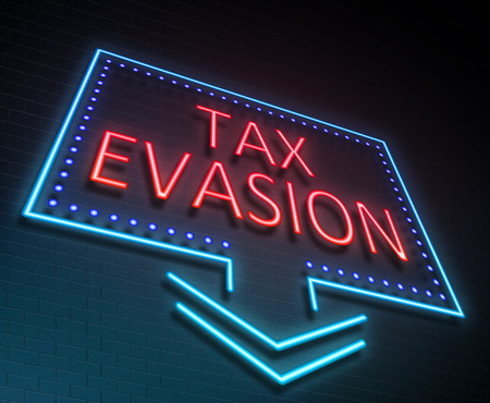 avoidance: Illustration depicting an illuminated neon sign with a tax evasion concept. Stock Photo