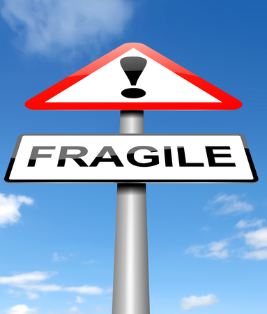 unstable: Illustration depicting a sign with a fragile concept.