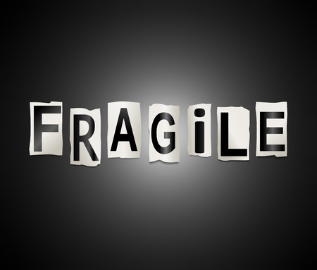 frail: Illustration depicting a set of cut out printed letters arranged to form the word fragile.