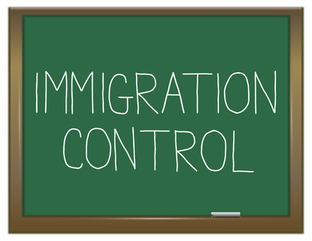 migrate: Illustration depicting a green chalkboard with an immigration control concept.