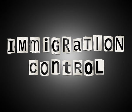 emigration: Illustration depicting a set of cut out printed letters arranged to form the words immigration control.