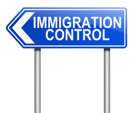 displacement: Illustration depicting a sign with an immigration control concept. Stock Photo