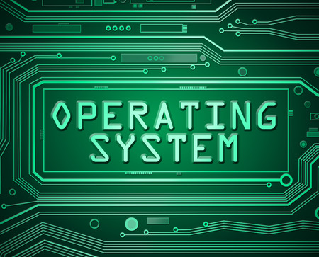 operating system: Abstract style illustration depicting printed circuit board components with an operating system concept.