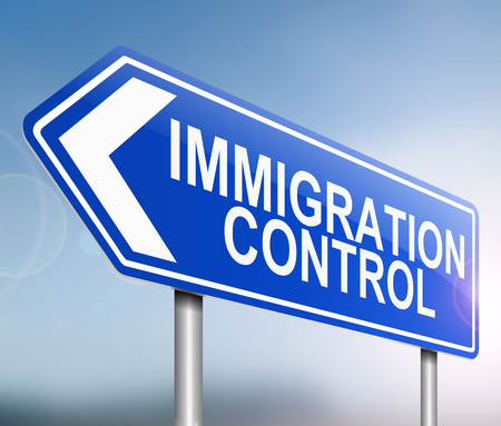 migrate: Illustration depicting a sign with an immigration control concept. Stock Photo