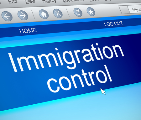 emigration and immigration: Illustration depicting a computer screen capture with an immigration control concept.