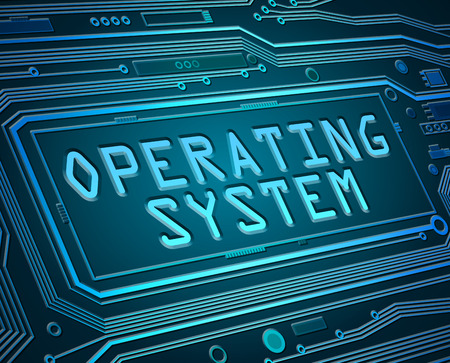 illustrazione di stile astratto raffigurante componenti circuito stampato con un concetto di sistema operativo.