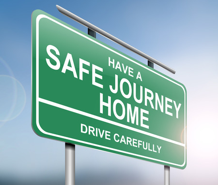 journey: Illustration depicting a green road sign with a drive safely message. Stock Photo