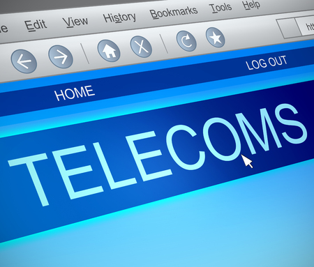 telecoms: Illustration depicting a computer screen capture with a telecoms concept. Stock Photo