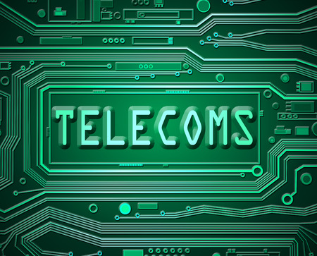 telecoms: Abstract style illustration depicting printed circuit board components with a telecoms concept.