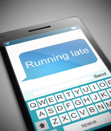 postponed: Illustration depicting a phone with a running late message concept.