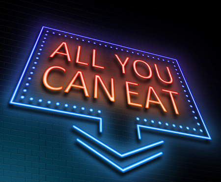 Illustration depicting an illuminated neon sign with an all you can eat concept. Stock Photo