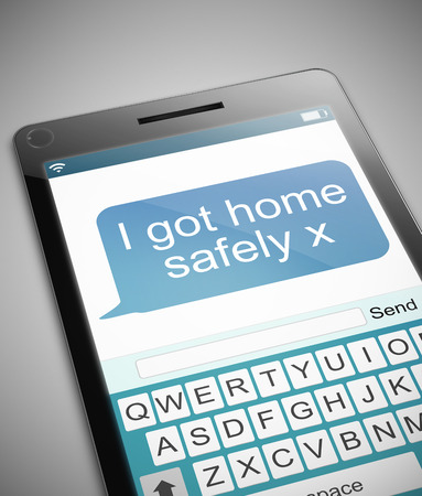 messages: Illustration depicting a phone with a got home safe concept.