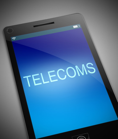telecoms: Illustration depicting a phone with a telecoms concept.