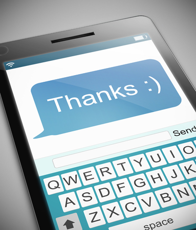 acknowledgment: Illustration depicting a phone with a thank you message concept.
