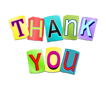 printed: Illustration depicting a set of cut out printed letters arranged to form the words thank you.