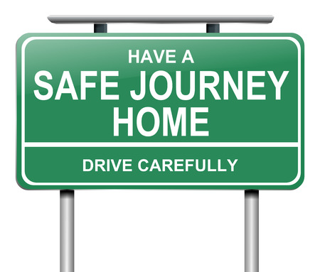 commute: Illustration depicting a green road sign with a drive safely message. Stock Photo