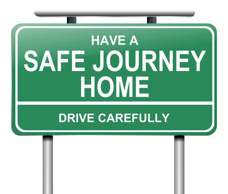 caja fuerte: Ilustración que muestra una señal de tráfico verde con un mensaje de unidad de forma segura. Foto de archivo