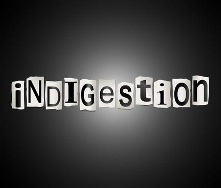 acidosis: Illustration depicting a set of cut out printed letters arranged to form the word indigestion.