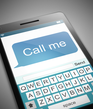 call me: Illustration depicting a phone with a call me message concept.