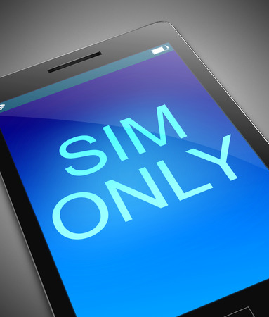 mobile cellular: Illustration depicting a phone with a sim only concept.