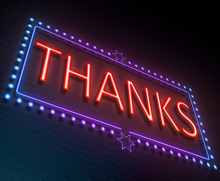 acknowledgment: Illustration depicting an illuminated neon sign with a thanks concept.