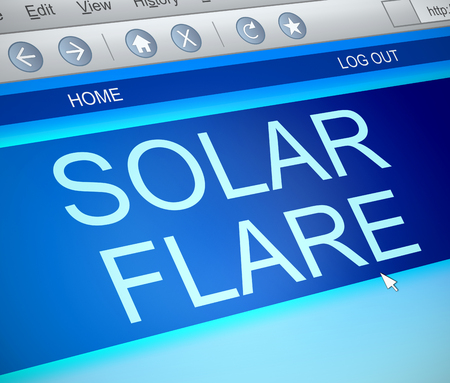 solar flare: Illustration depicting a computer screen capture with a solar flare concept.
