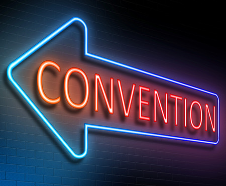 convention: Illustration depicting an illuminated neon sign with a convention concept.