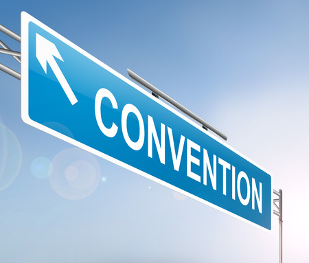 Illustration depicting a sign with a convention concept. Stok Fotoğraf - 65086364