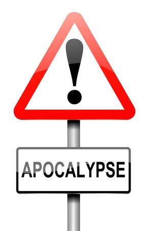 prophecy: Illustration depicting a sign with an apocalypse concept.