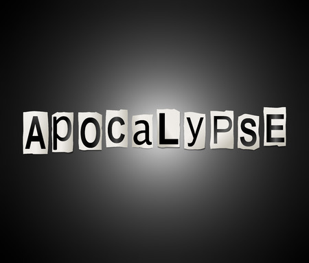 catastrophic: Illustration depicting a set of cut out printed letters arranged to form the word apocalypse. Stock Photo