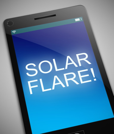 solar flare: Illustration depicting a phone with a solar flare concept.