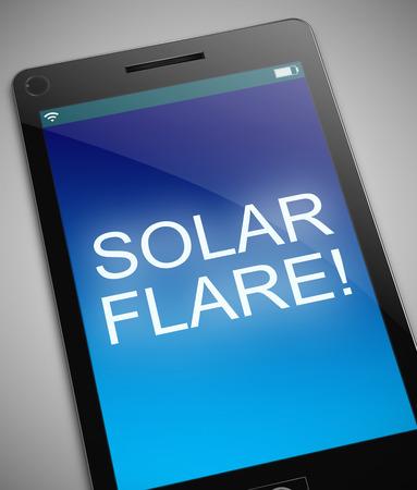 radiacion solar: Ilustración que muestra un teléfono con un concepto llamarada solar. Foto de archivo