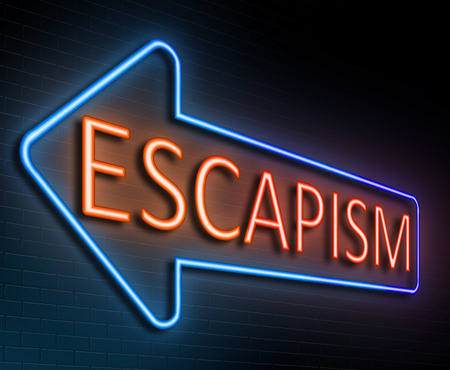 diversion: Illustration depicting an illuminated neon sign with an escapism concept.