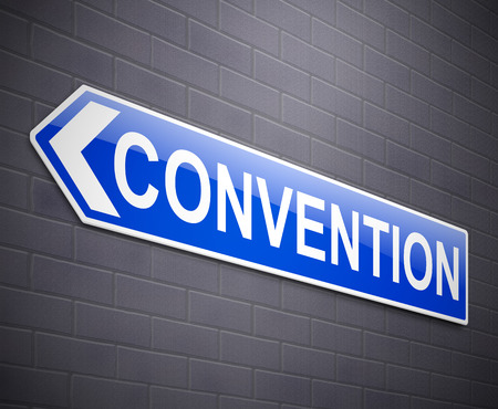 convention: Illustration depicting a wall mounted sign with a convention concept.