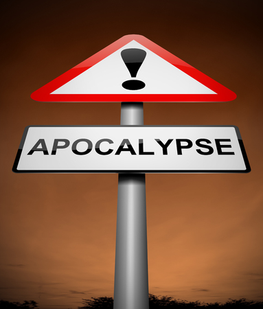 destruct: Illustration depicting a sign with an apocalypse concept.