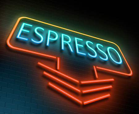 advertising signs: Illustration depicting an illuminated neon sign with an espresso concept.