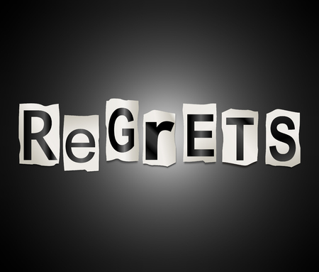 reproach: Illustration depicting a set of cut out printed letters arranged to form the word regrets. Stock Photo