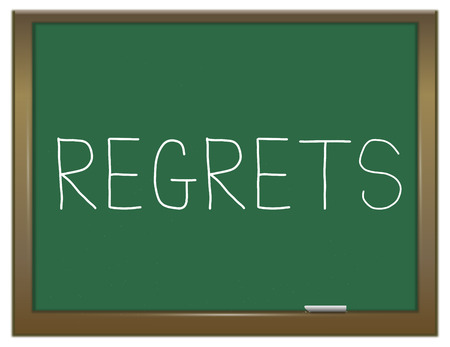 remorse: Illustration depicting a green chalkboard with a regrets concept.