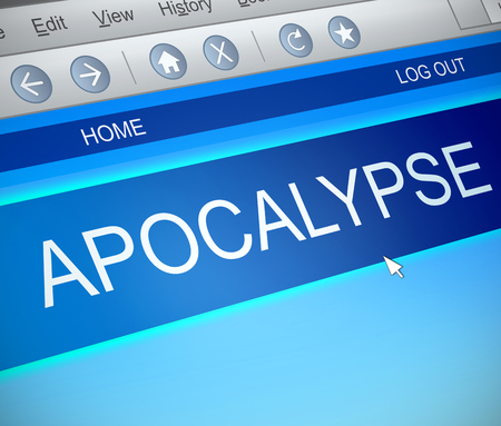 catastrophic: Illustration depicting a computer screen capture with an apocalypse concept. Stock Photo
