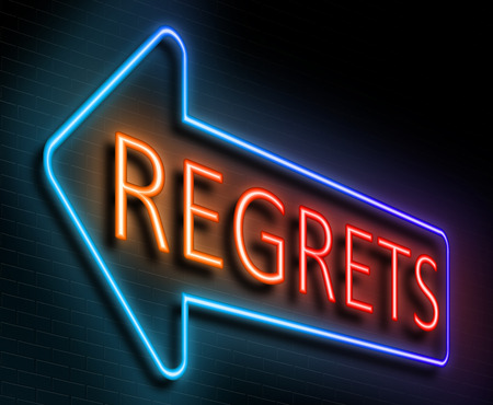 Illustration depicting an illuminated neon sign with a regrets concept.