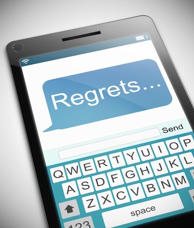 anguish: Illustration depicting a phone with a regrets concept. Stock Photo