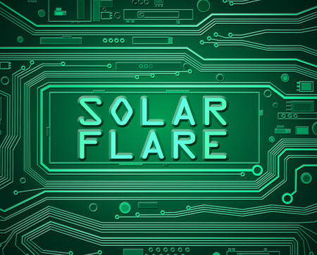 magnetic field: Abstract style illustration depicting printed circuit board components with a solar flare concept.