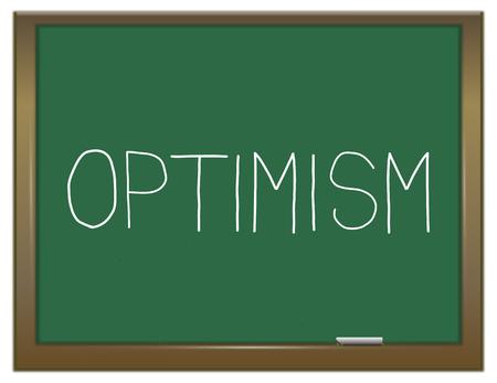 optimismo: Ilustración que muestra una pizarra verde con un concepto de optimismo.