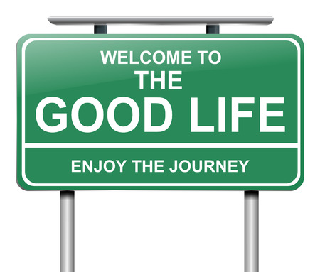 elation: Illustration depicting a sign with a good life concept.
