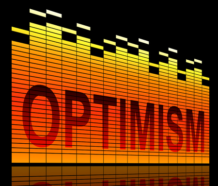 encouraged: Illustration depicting graphic equalizer levels with an optimism concept.