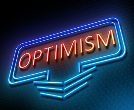 hopeful: Illustration depicting an illuminated neon sign with an optimism concept.