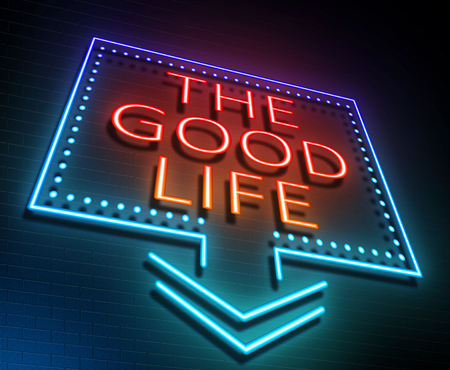 elation: Illustration depicting an illuminated neon sign with a good life concept.