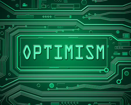 optimism: Abstract style illustration depicting printed circuit board components with an optimism concept.